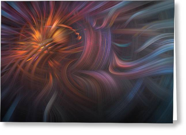 Copper Flames Greeting Card by Debra and Dave Vanderlaan