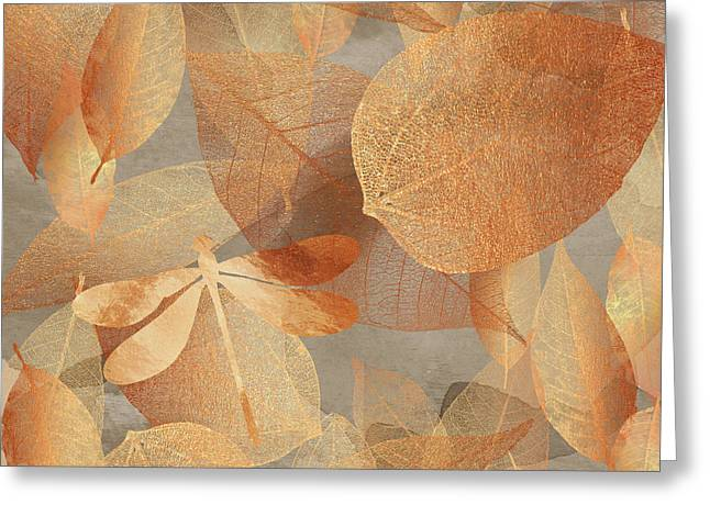 Copper Forest, Leaves And Dragonfly, Nature And Garden Art Greeting Card