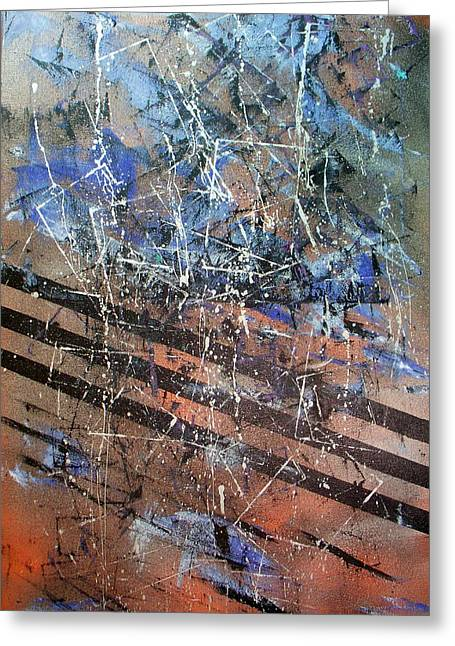 Copper To Blue Abstract Greeting Card by Lynda McDonald