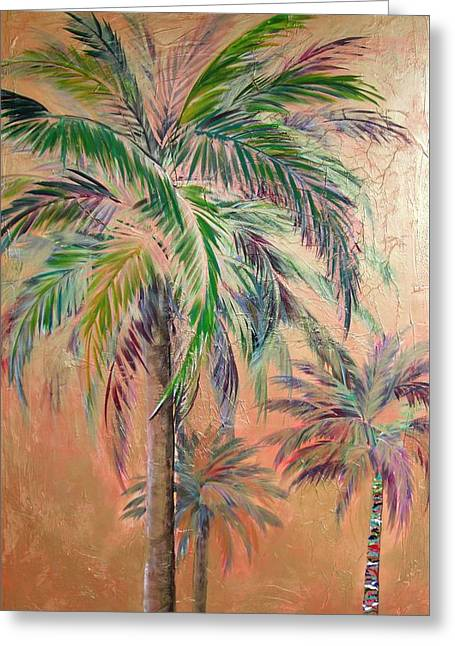 Copper Trio Of Palms Greeting Card