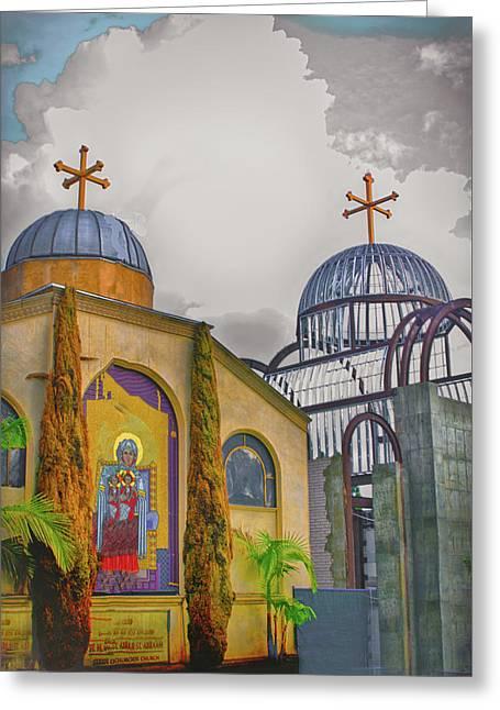Coptic Church Rebirth Greeting Card by Joseph Hollingsworth