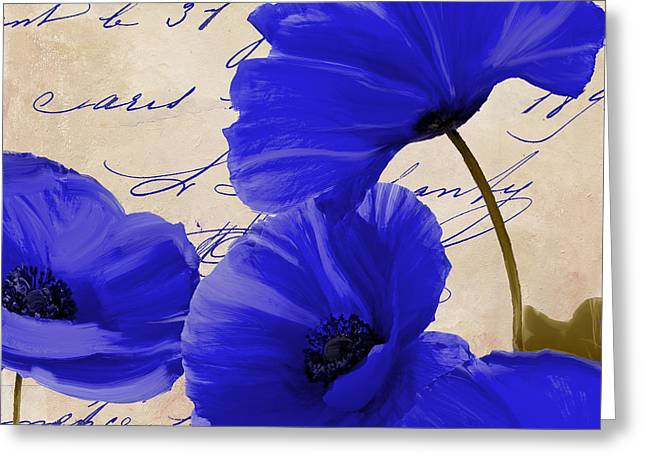 Coquelicots Bleue Greeting Card by Mindy Sommers