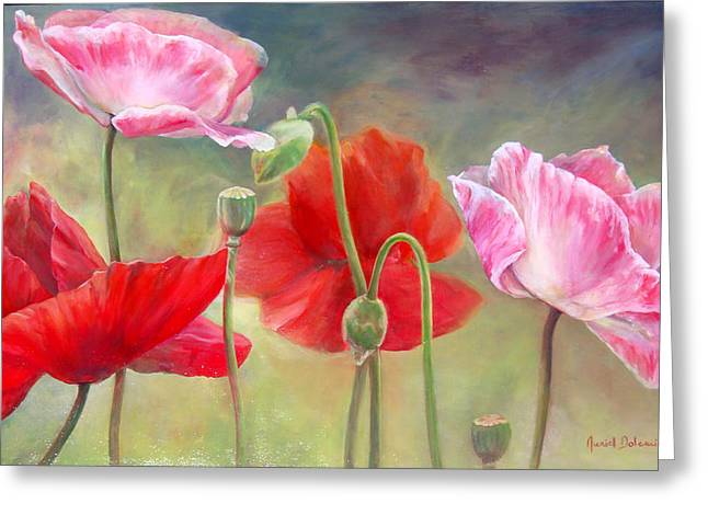 Coquelicots Greeting Card by Muriel Dolemieux