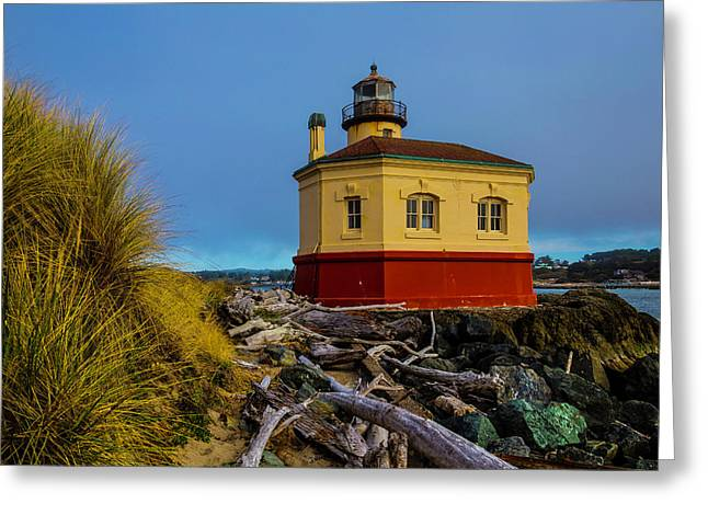 Coquille River 2 Lighthouse Greeting Card by Garry Gay