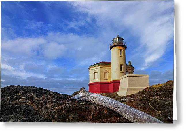 Coquille River Light Greeting Card by C Steele