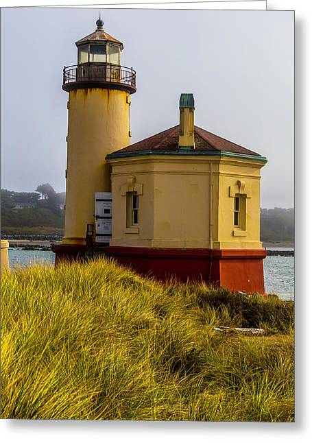 Coquille River Lighthouse And Dune Grass Greeting Card by Garry Gay