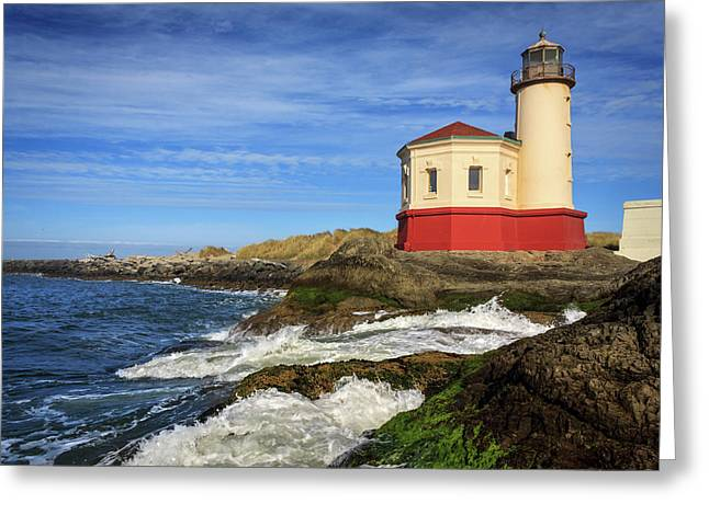 Coquille River Lighthouse At Bandon Greeting Card