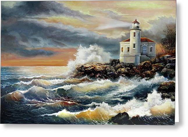 Coquille River Lighthouse At Hightide Greeting Card by Regina Femrite