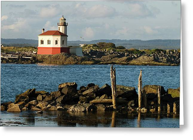 Coquille River Lighthouse Bandon Oregon Greeting Card