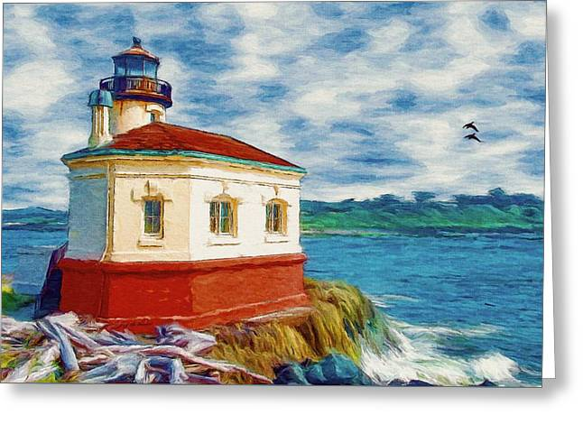 Greeting Card featuring the painting Coquille River Lighthouse by Jeff Kolker