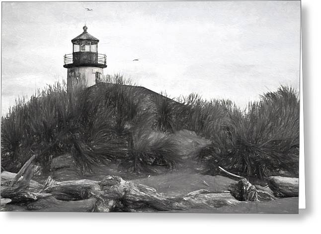 Coquille River Lighthouse Oregon Black And White Giclee Art Print Greeting Card