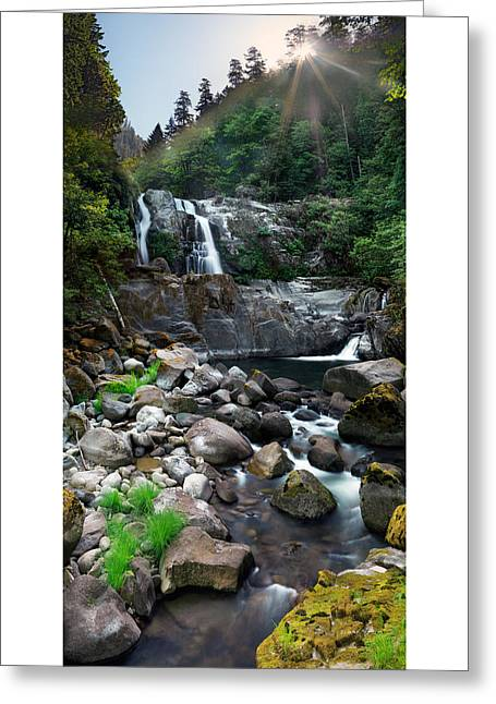 Coquille Waterfalls Greeting Card by Leland D Howard