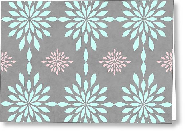 Coral And Turquoise Gray Greeting Card by Inspired Arts