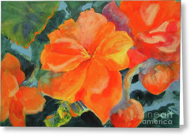 Greeting Card featuring the painting Coral Begonias by Kathy Braud