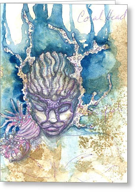 Greeting Card featuring the painting Coral Head by Ashley Kujan