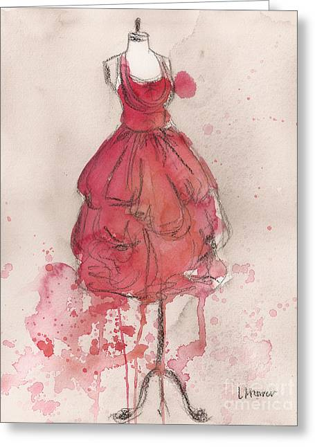 Coral Pink Party Dress Greeting Card by Lauren Maurer
