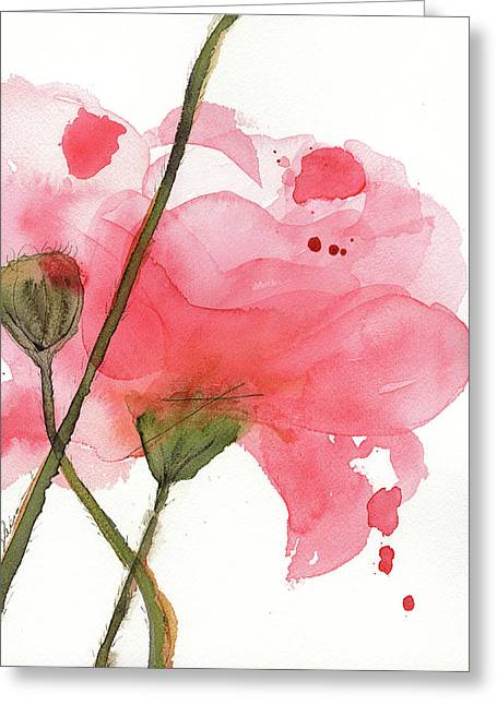 Greeting Card featuring the painting Coral Poppies by Dawn Derman