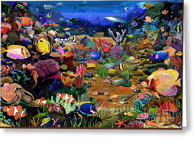Scuba Diving Greeting Cards - Coral Reef Greeting Card by Gerald Newton