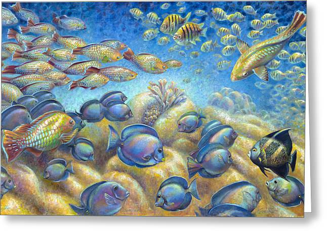 Greeting Card featuring the painting Coral Reef Life Silvers by Nancy Tilles