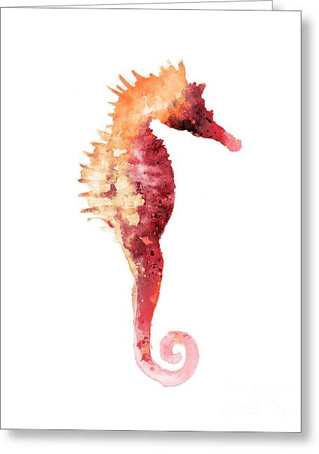 Coral Seahorse Watercolor Painting Greeting Card by Joanna Szmerdt
