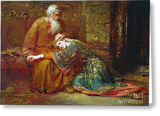 Cordelia Comforting Her Father Greeting Card by MotionAge Designs