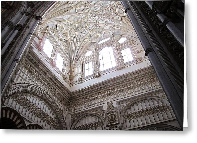 Cordoba Cathedral Ancient Ornate Ceiling Iv Spain Greeting Card