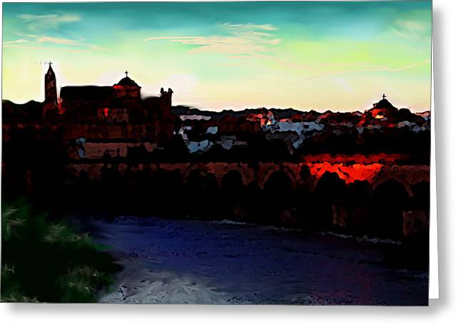 Cordoba Spain Twilight  Greeting Card by Enki Art