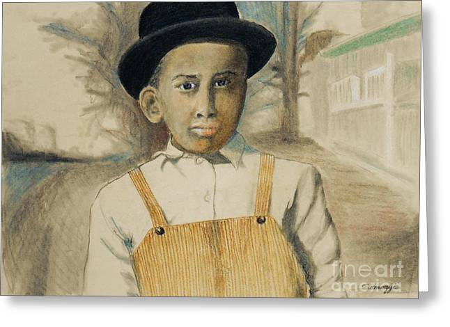 Corduroy Overalls,1942 -- Retro Portrait Of African-american Child Greeting Card