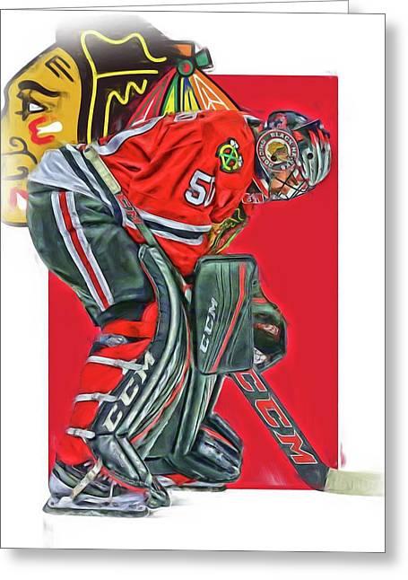 Corey Crawford Chicago Blackhawks Oil Art Greeting Card by Joe Hamilton
