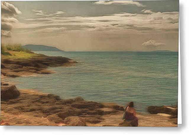 Greeting Card featuring the photograph Corfu 15  - My Lady On The Rocks by Leigh Kemp