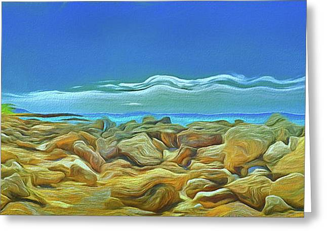 Greeting Card featuring the photograph Corfu 3 - Surreal Rocks by Leigh Kemp