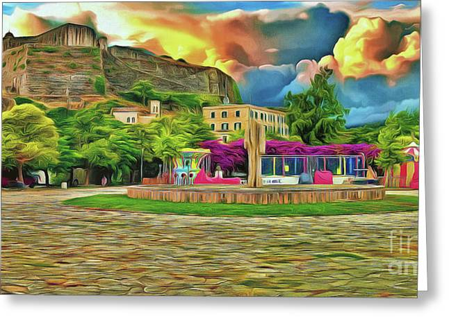 Greeting Card featuring the photograph Corfu 32 - Near The Fortress by Leigh Kemp