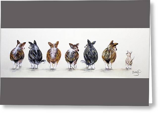 Corgi Butt Lineup With Chihuahua Greeting Card by Patricia Lintner