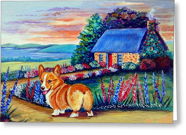 Corgi Cottage Sunrise Greeting Card by Lyn Cook