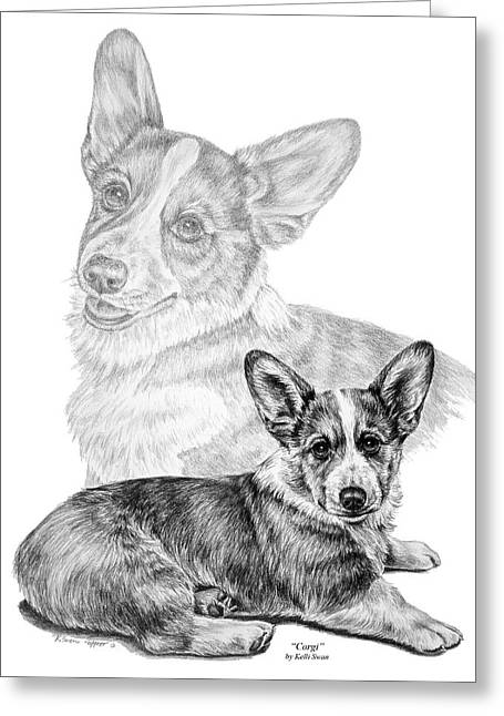 Corgi Dog Art Print Greeting Card