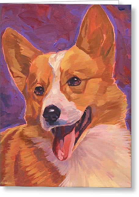 Dog Head Greeting Cards - Corgi Dog Greeting Card by Shawn Shea
