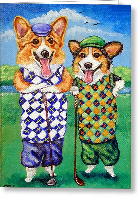 Puppies Paintings Greeting Cards - Corgi Golfers Pembroke Welsh Corgi Greeting Card by Lyn Cook
