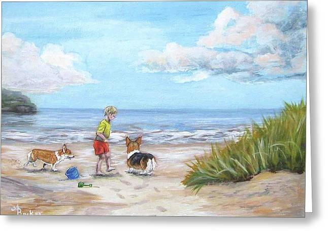 Corgi Seaside Play Greeting Card by Ann Becker