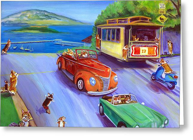 Corgi Trolley On Hyde Street Greeting Card by Lyn Cook