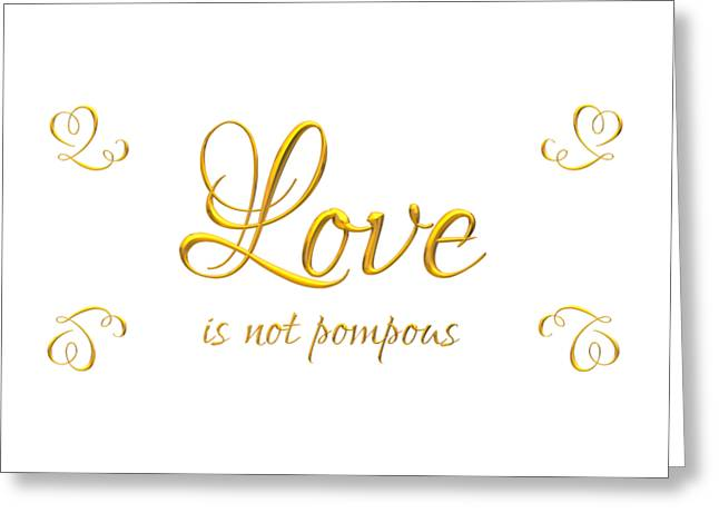 Corinthians Love Is Not Pompous Greeting Card by Rose Santuci-Sofranko