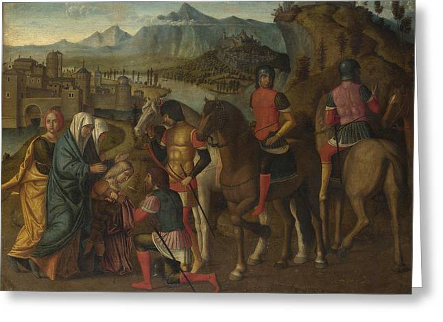 Coriolanus Persuaded By His Family To Spare Rome Greeting Card by Michele da Verona