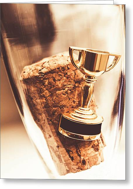 Cork And Trophy Floating In Champagne Flute Greeting Card by Jorgo Photography - Wall Art Gallery