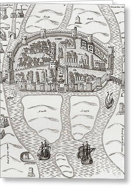 Cork, County Cork, Ireland In 1633 Greeting Card by Irish School
