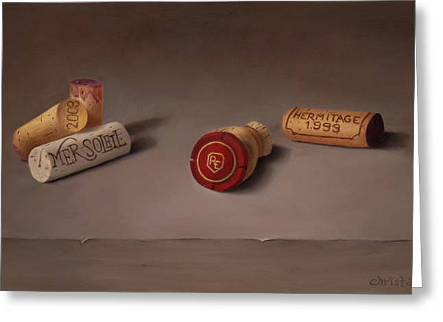 Corks Greeting Card by Christa Eppinghaus