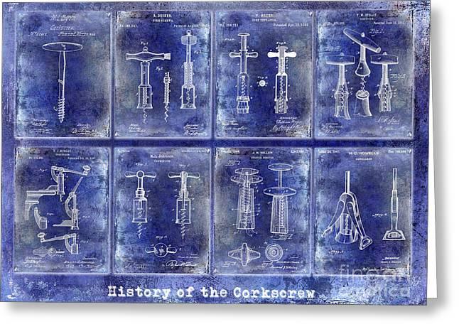 Corkscrew Patent History Blue Greeting Card