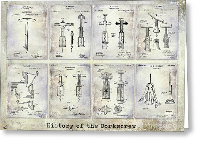 Corkscrew Patent History Greeting Card by Jon Neidert
