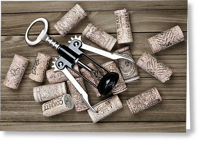Corkscrew With Wine Corks Greeting Card