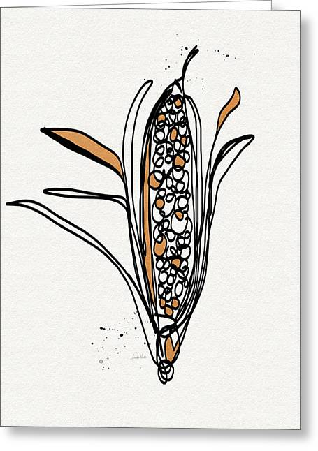 corn- contemporary art by Linda Woods Greeting Card