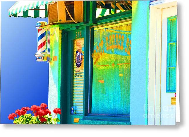 Corner Barber Shop Greeting Card by Noel Zia Lee