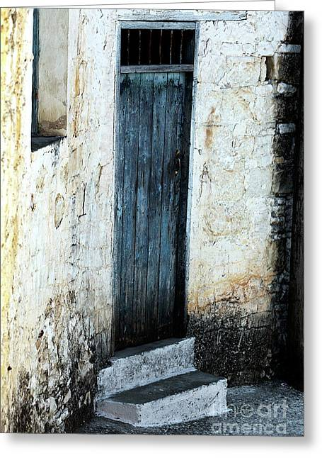 Corner Blue Door Greeting Card by John Rizzuto